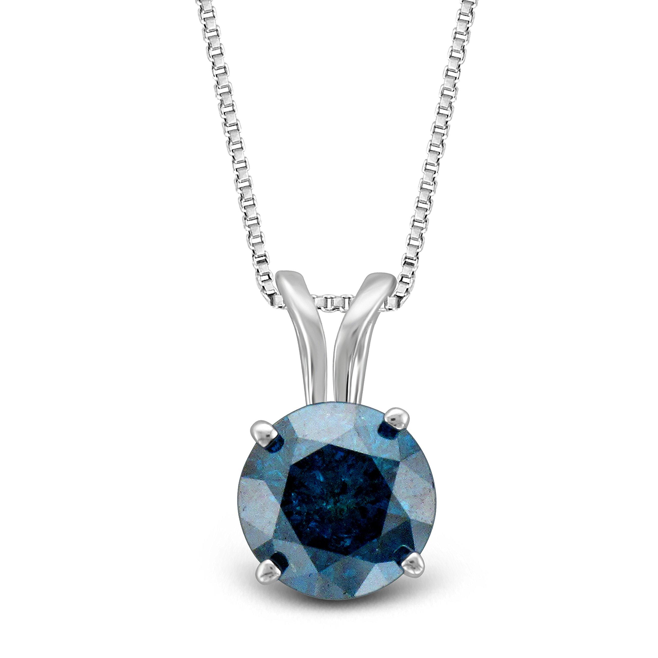 Diamond Jewel 14K White Gold Blue Diamond Stud Pendant