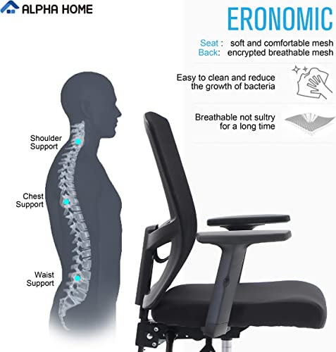 ALPHA HOME Office Chair Ergonomic Home Desk Chair Mid Back Mesh Computer Chair