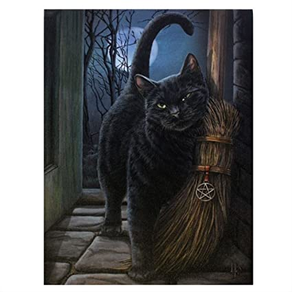cepillo con Magick - diseño fantástico por artista Lisa Parker - Gato negro con Bruja Lienzo