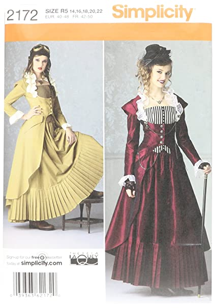 Amazon.com: Simplicity Pattern 2172 R5 Misses\' Steampunk Costume by ...