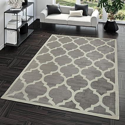 TT Home Tapis Poils Ras Moderne Design Marocain Salon Intérieur Tendance  Gris, Dimension160x220 cm