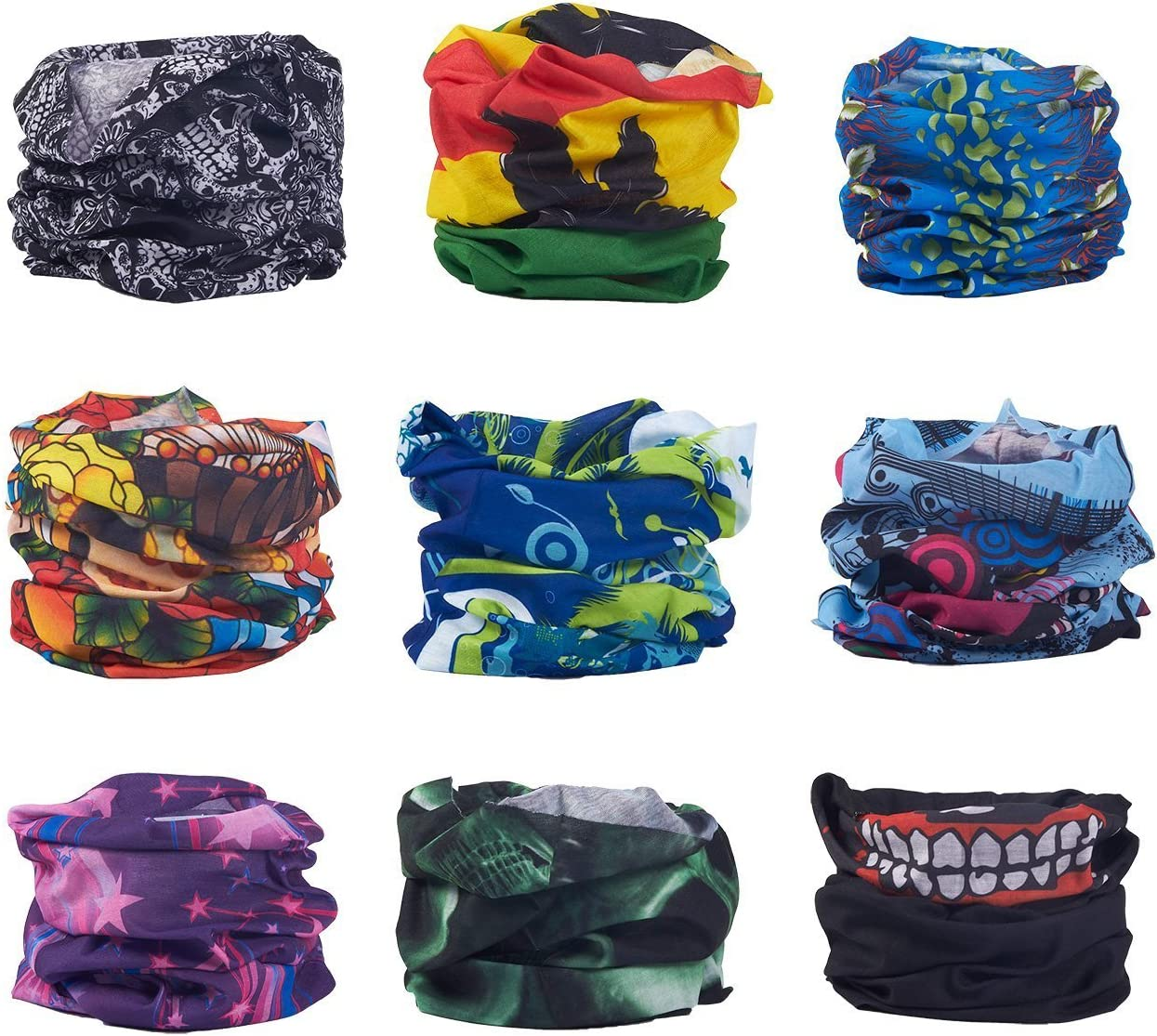 Neck Gaiter Helmet Liners Use As Headwraps 18.75 x 9.75 Inches Multipurpose Headwear for UV Protection 9-Piece Seamless Bandana Face Mask Raves 9 Assorted Designs for Outdoor Sports