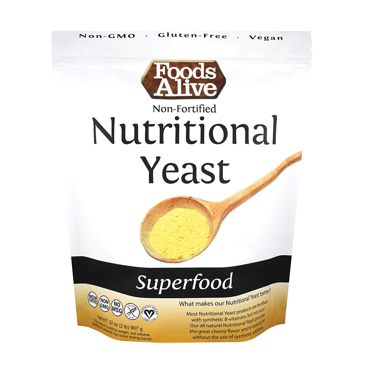 Foods Alive Nutritional Yeast Flakes Bulk 2-lbs | Non-Fortified, Plant Based Protein, Vegan Cheese Powder Substitute, Versatile Seasoning for Range of Dishes 32-ounces