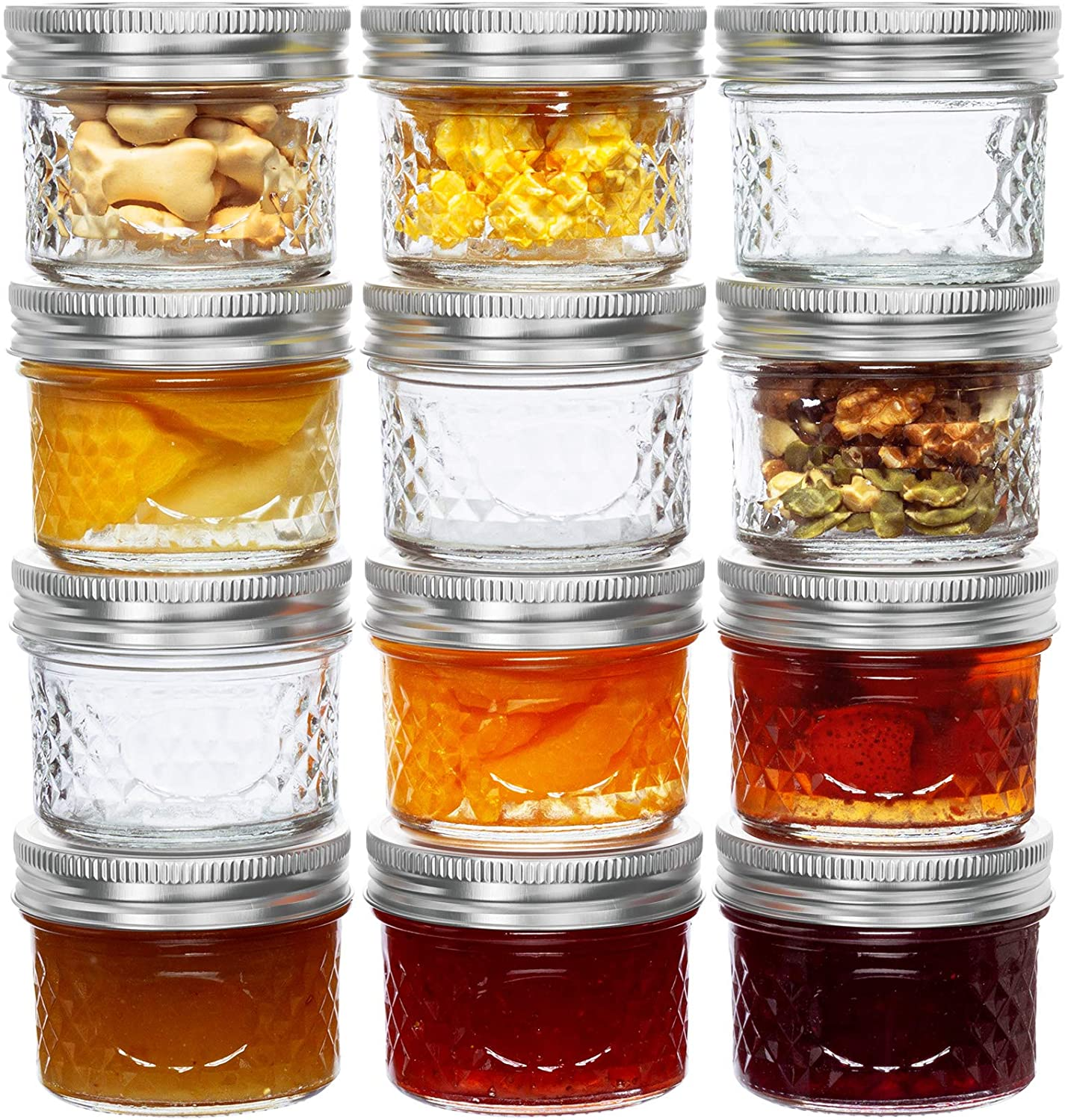 4 Oz Mason Jars Glass Mini Canning Jelly Jars with Airtight Regular Mouth Lids & Band, Quilted Crystal Jars for Jams, Spice, Food Storage, Wedding / Shower Favors, Preserves, Drinking-12 Pack
