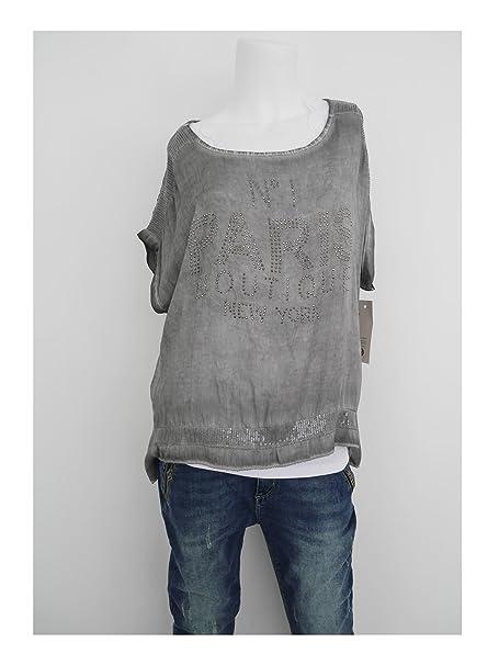 b220fbec1142 Fashion Trend Mode Longshirt Bluse Tunika Statement Glitzer Nieten  Pailletten Paris grau grey M L 40 42