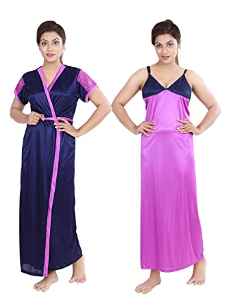 1b97abae84d34 Bailey Women's Satin Printed Robe and Slip Night Dress (Purple, Free Size):  Amazon.in: Clothing & Accessories