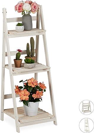 relaxdays Estantería Plantas para Interior y Balcón, Soporte Flores, Escalera Plegable, Madera, 108x41x40 cm, Blanco, 3 peldaños (L): Amazon.es: Juguetes y juegos