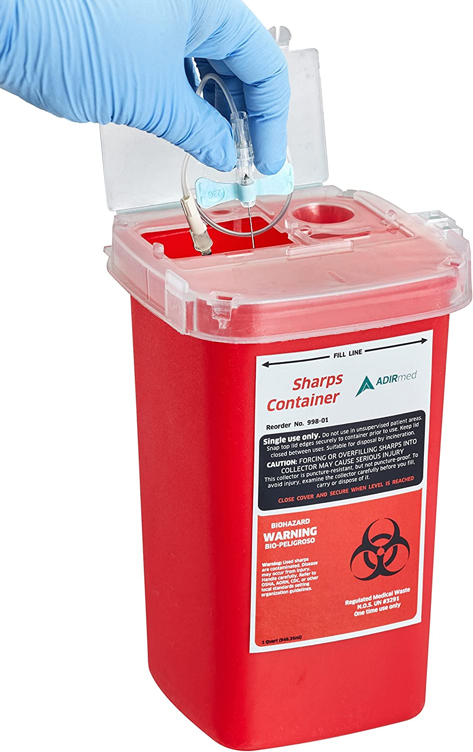 AdirMed Sharps & Needle Biohazard Disposal Container 1 Quart - 6 Pack: Health & Personal Care