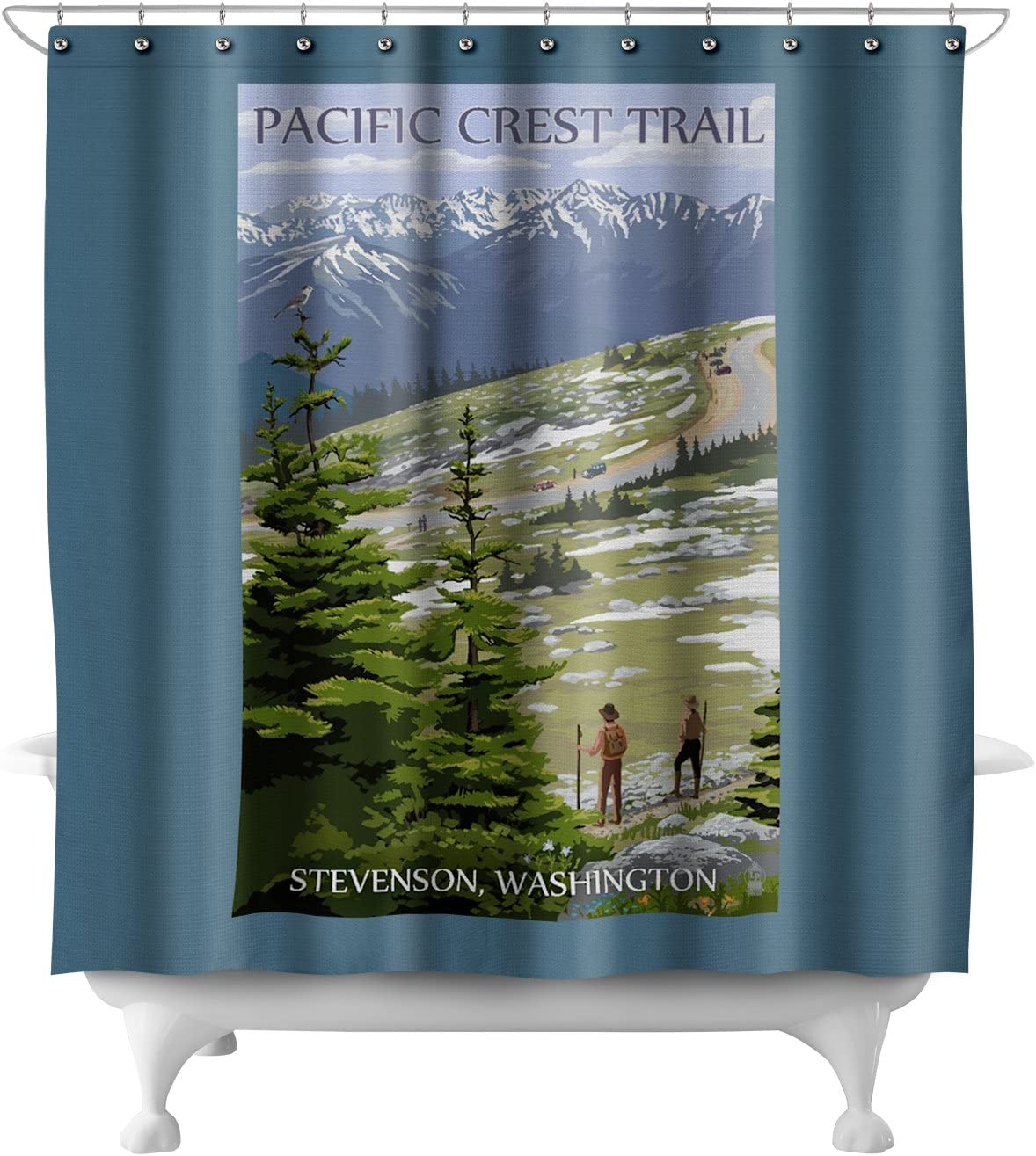 Stevenson, Washington - Pacific Crest Trail and Hikers (71x74 Polyester Shower Curtain)