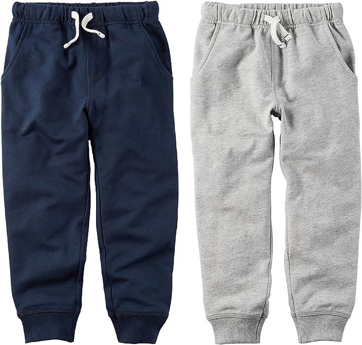 a4c522c252904 Amazon.com: Carter's Baby Boys 2 Pack Knit Fleece Active Pants (3 ...