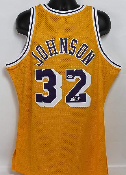 3c922e775 Magic Johnson Autographed Los Angeles Lakers Jersey w Beckett COA at ...