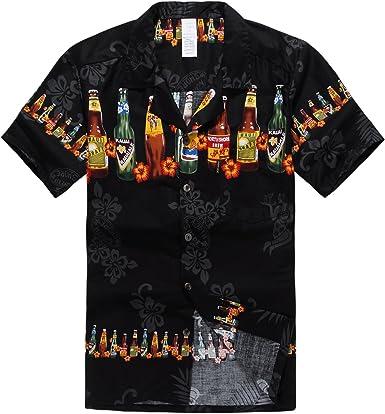 Palm Wave Hombres Aloha Camisa Hawaiana en Botellas de Cerveza: Amazon.es: Ropa y accesorios