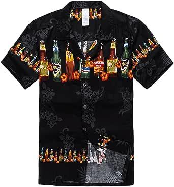 Palm Wave Hombres Aloha Camisa Hawaiana en Botellas de Cerveza