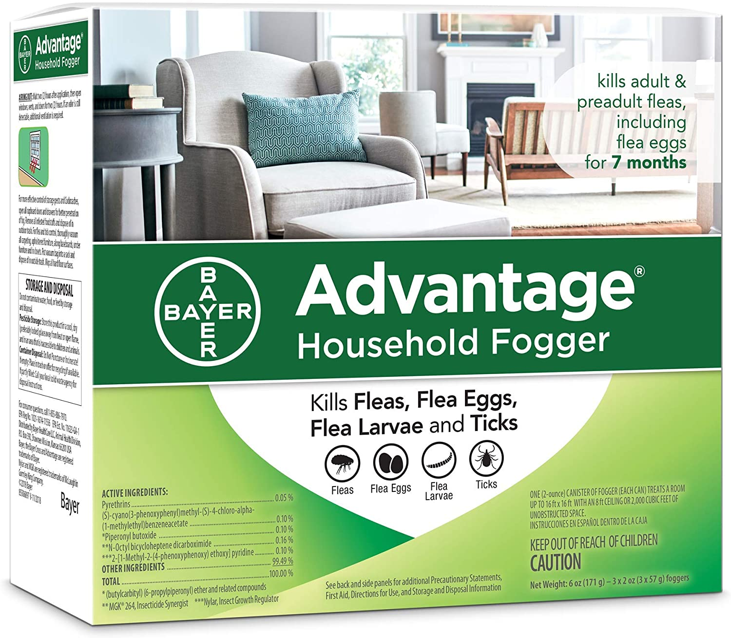 Advantage Flea and Tick Household Fogger, three 2 oz canisters