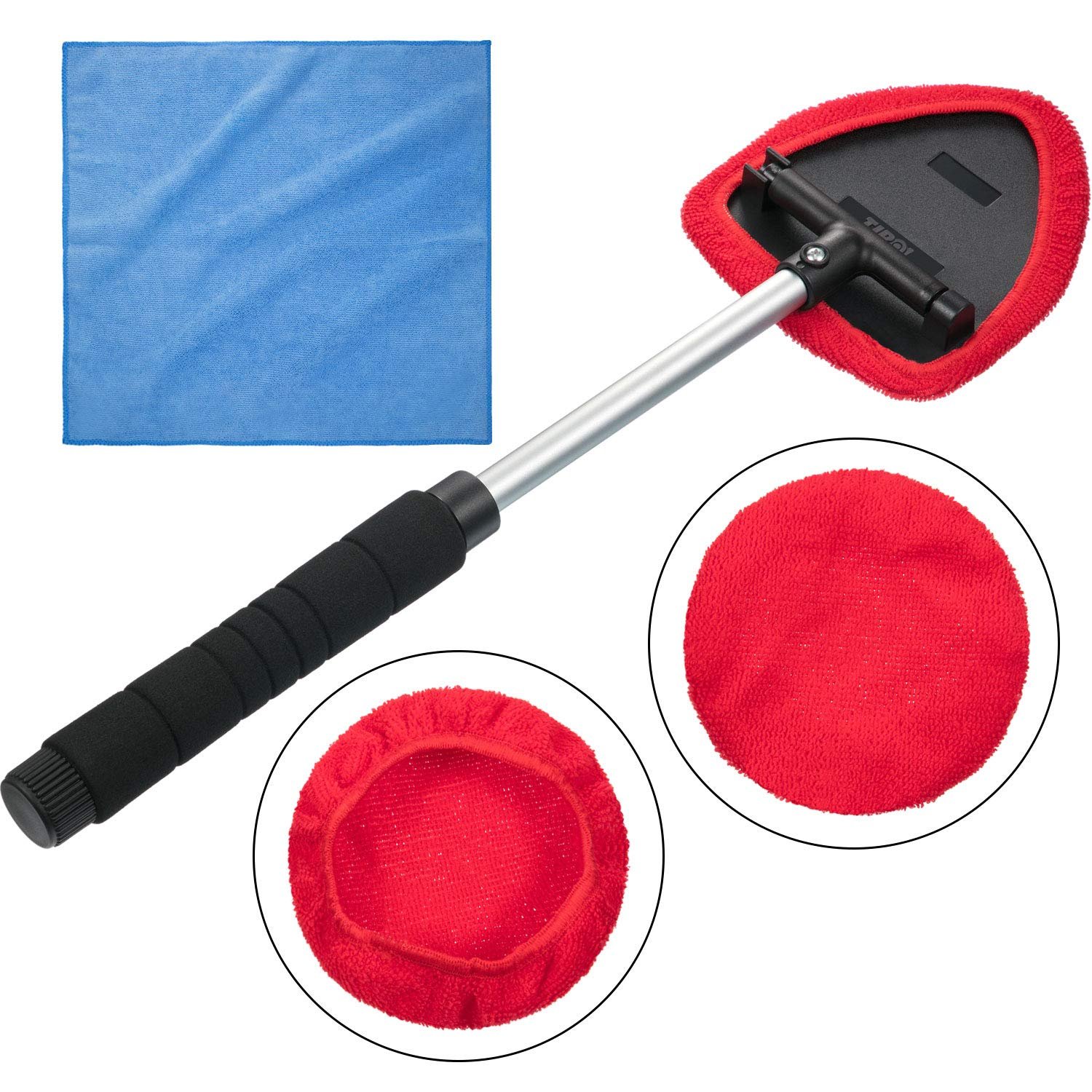 Tatuo Auto Car Windshield Cleaner, 1 Pack Extendable Handle Window Cleaner Brush Kit Comes with 2 Packs Washable and Reusable Pads and 1 Pack Microfiber Cleaning Cloth