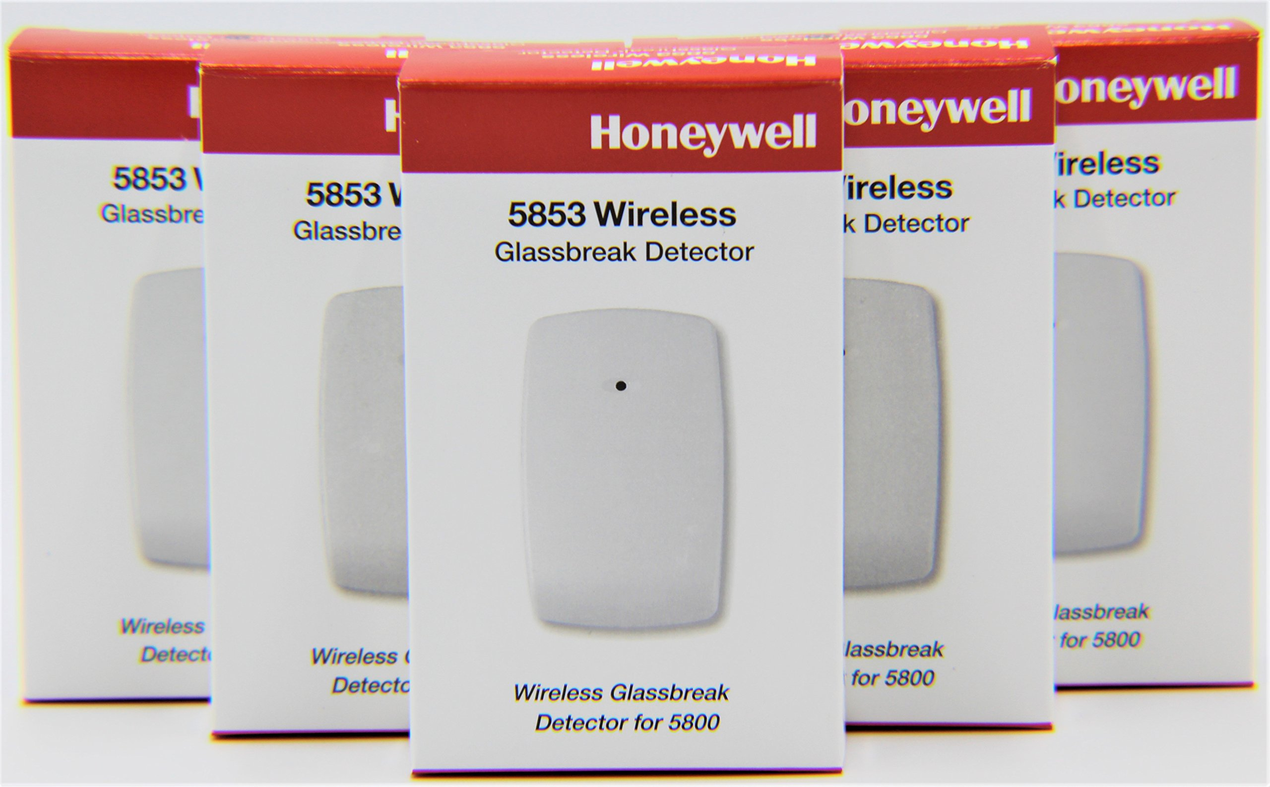 5 Pack of Honeywell 5853 Wireless Glassbreak Detector W/Mounting Tape by Honeywell