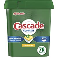 Cascade Complete Dishwasher Pods, Actionpacs Dishwasher Detergent, Lemon Scent, 78 Count