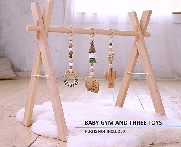Buffalo cactus Baby gym. Southwest. Desert. Bison. Bohemian. Wooden play gym with 3 mobiles. Activity center. Play gym wood. Baby shower gift