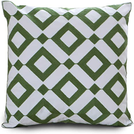 "17/"" Green Geometries Triangle Cotton Linen Cushion Cover Throw Pillow Decor 2461"