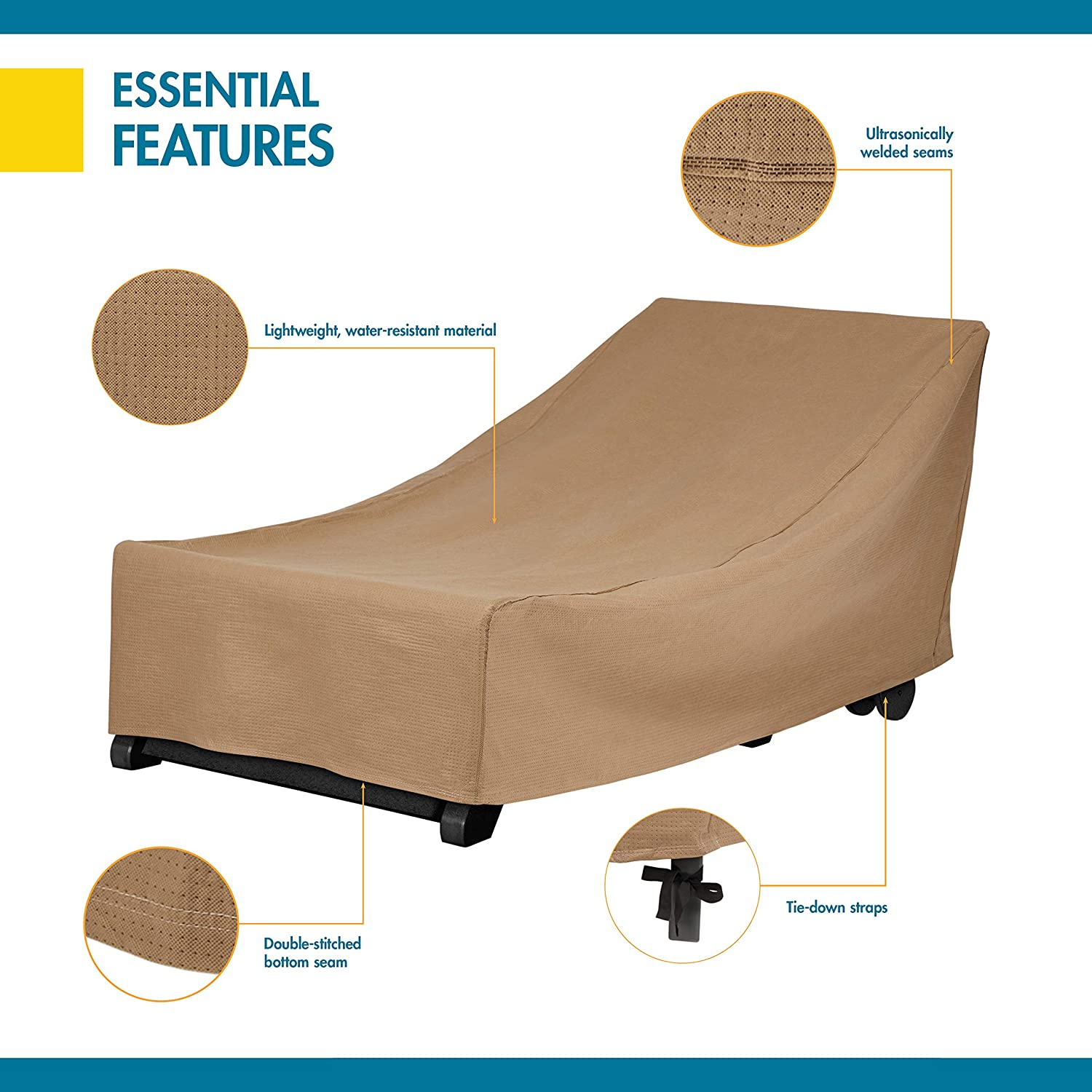 80-Inch Duck Covers Essential Patio Chaise Lounge Cover