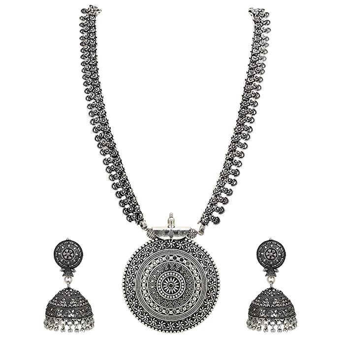 the latest d29a3 16e96 Buy Sasitrends German Oxidized Long Necklace Earring Set for Girls and Women  (Silver) Online at Low Prices in India   Amazon Jewellery Store - Amazon.in
