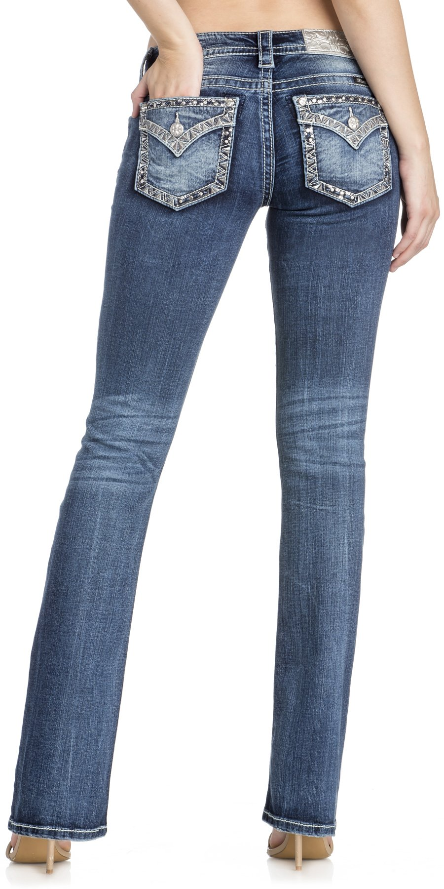 Miss Me Junior's Low-Rise Boot Cut Jeans with Embellishments, Medium Blue, 26
