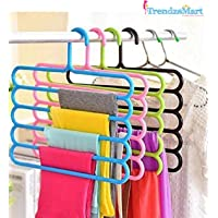 TrendzsMart Multi Layer Clothes Hanger Organizer for Door Hook, Hangers for Home/Wardrobe/Bathroom/Drying/Boutique/Shop Space Saving, Multipurpose, 5 Layer Plastic Hangers (Multicolored) - Set of 5