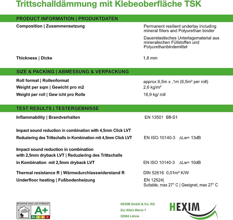 Hexim 6,5 qm LVT selbstklebende Oberfl/äche f/ür Vinyl Bodenbel/äge Trittschalld/ämmung Anti-Rutsch Oberfl/äche Bodenunterlage