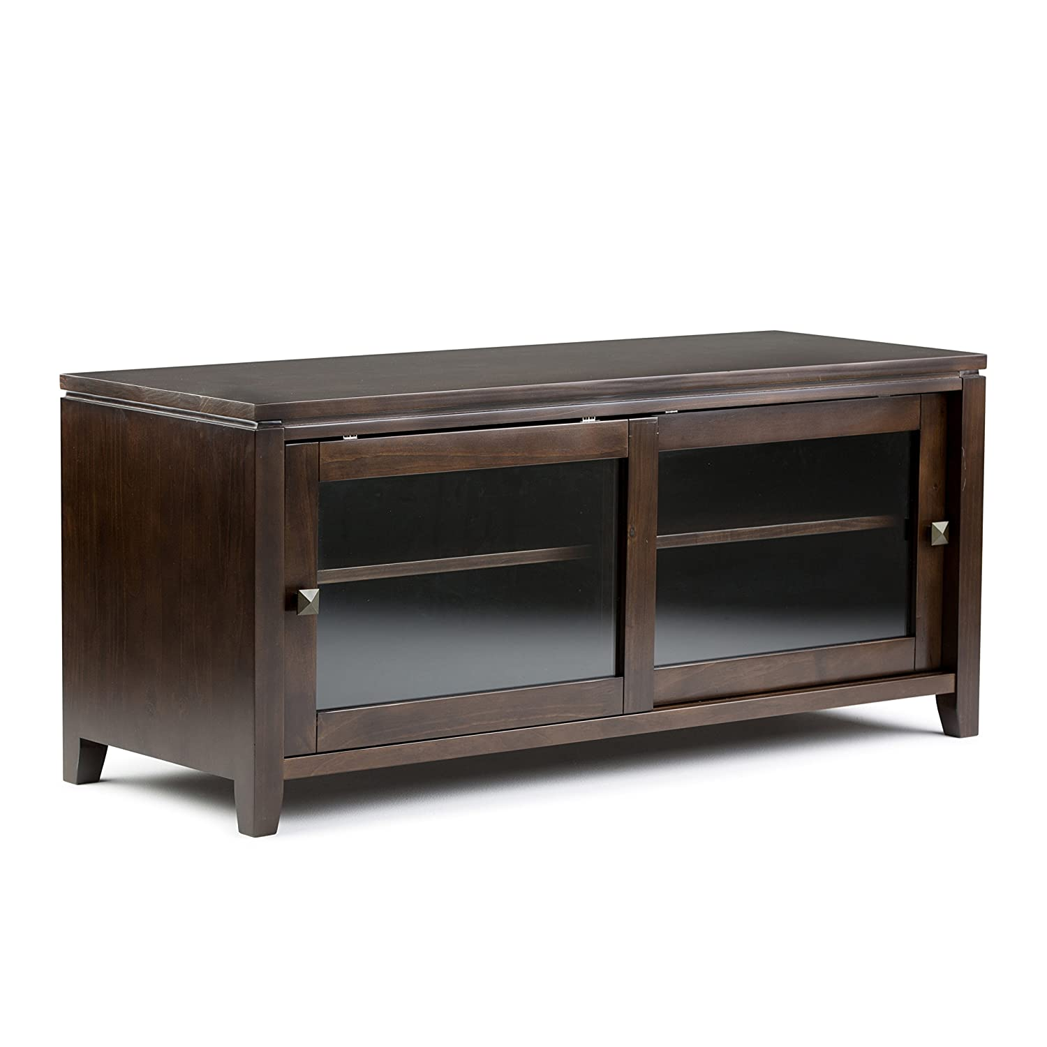 Simpli Home INT-AXCCOS-TV-CF Cosmopolitan Solid Wood 48 inch Wide Contemporary TV Media Stand in Coffee Brown For TVs up to 50 inches