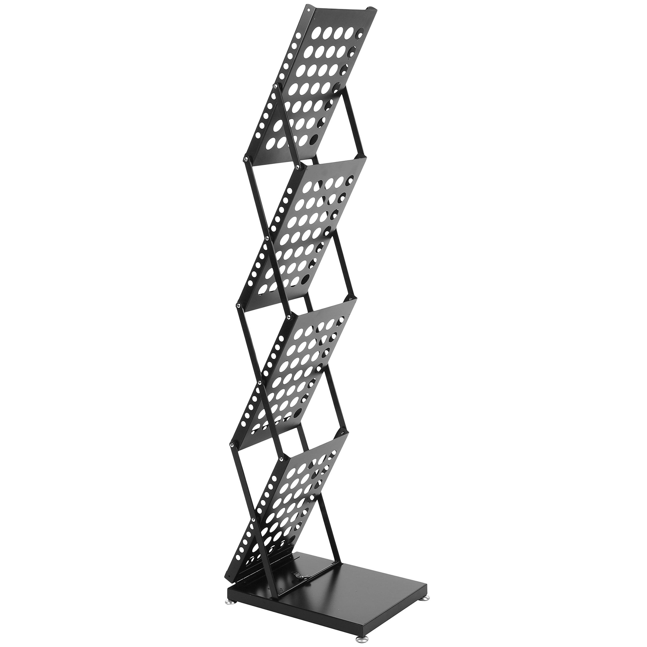 Modern Folding 4 Tier Metal Magazine Rack, Freestanding Literature Display Stand, Black by MyGift (Image #7)