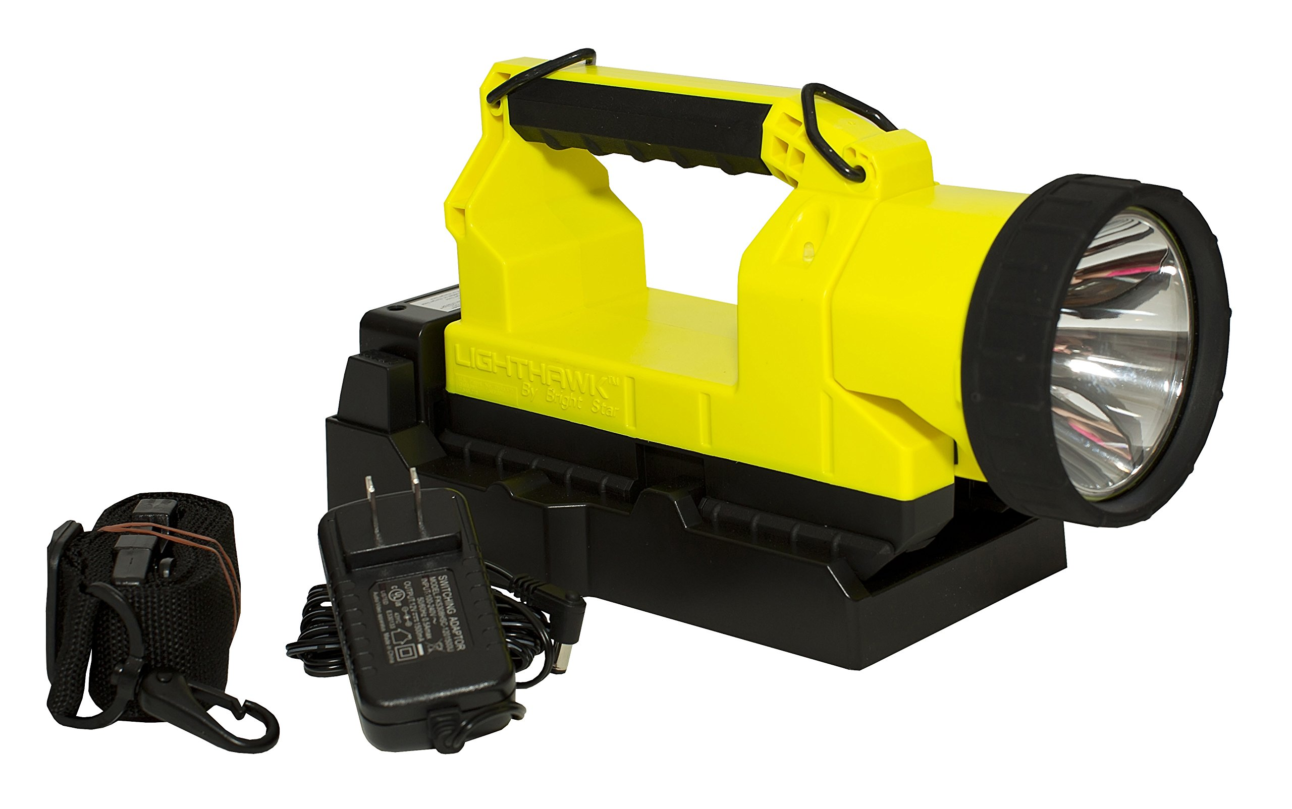 Bright Star 07612 UTIL Intrinsically Safe LED Lighthawk Gen II Lantern, Rechargeable Lithium Ion Battery, High/Low Main Light, 300 Lumens, 7/14 Hours Run Time, Yellow, comes with 120V and DC Chargers.