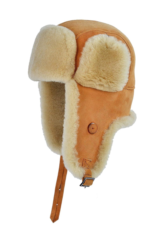 Mumcus Leather Unisex Shearling Sheepskin Suede Trapper Aviator Fur Hat