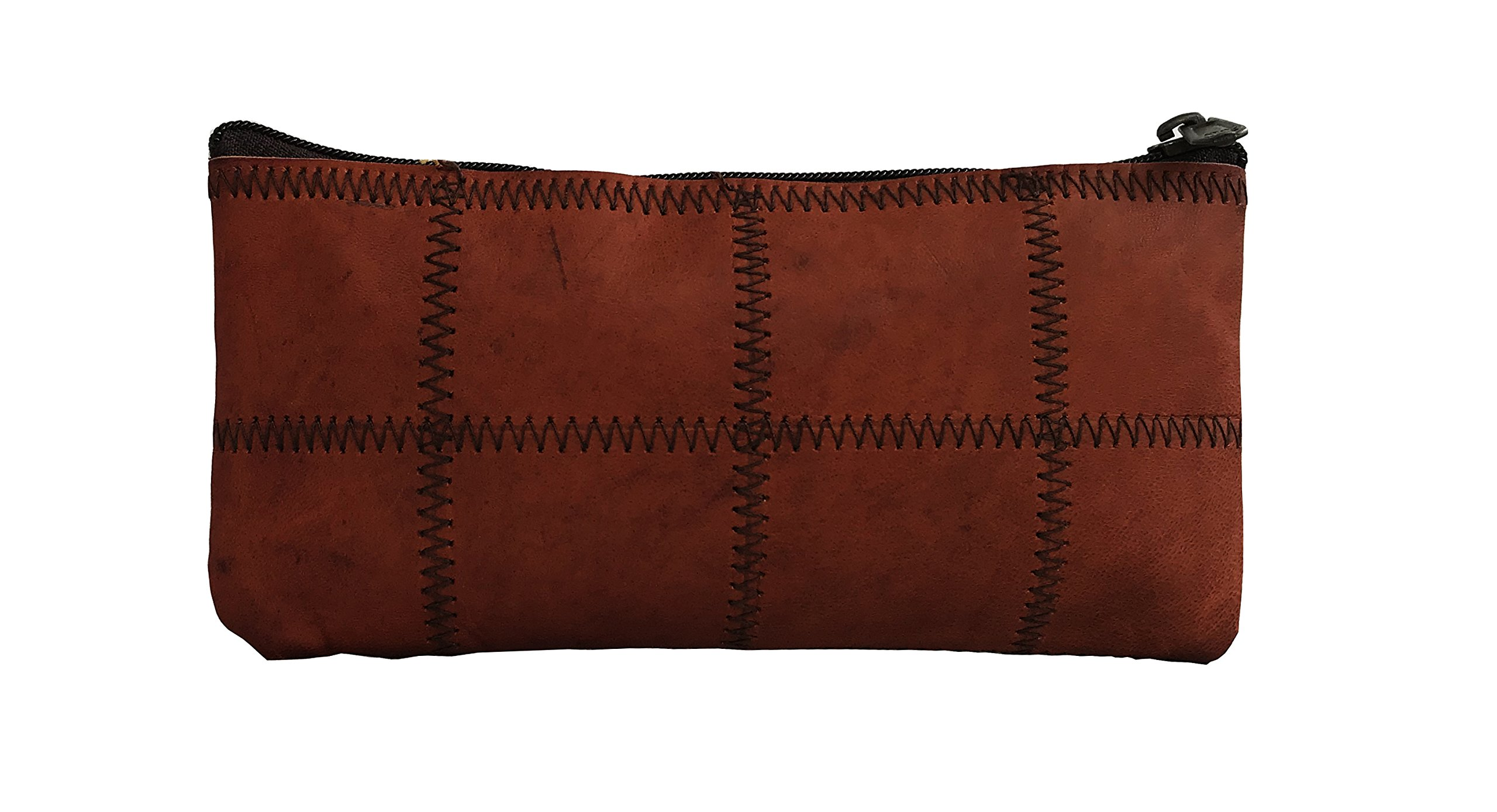 RK Rustic Genuine Leather Pencil Roll - Pen and Pencil Case Brown by RK