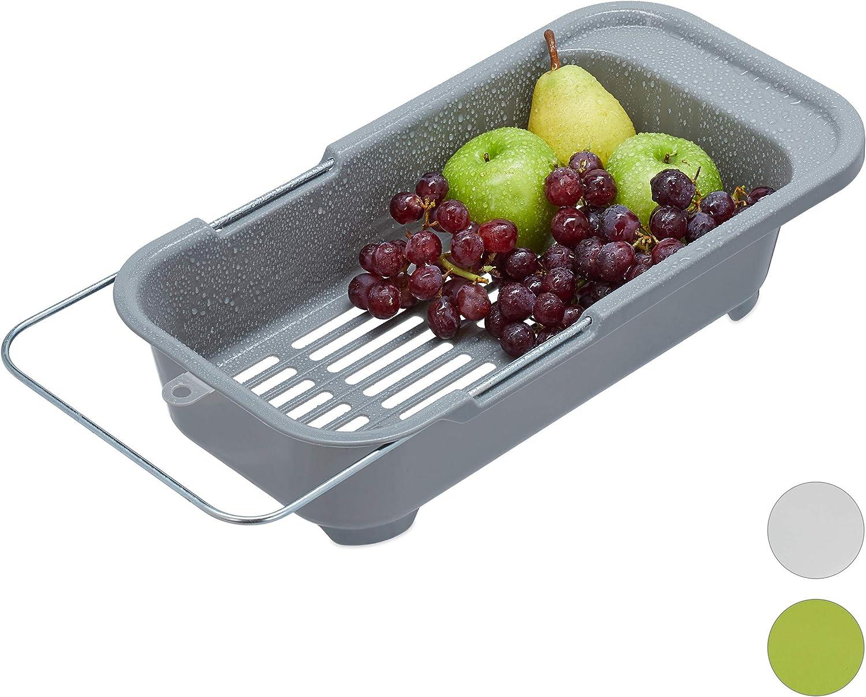 Relaxdays Bac d/égouttement en plastique pour fruits 10027970/_111 l/égumes /évier jusqu/à 57 cm Gris