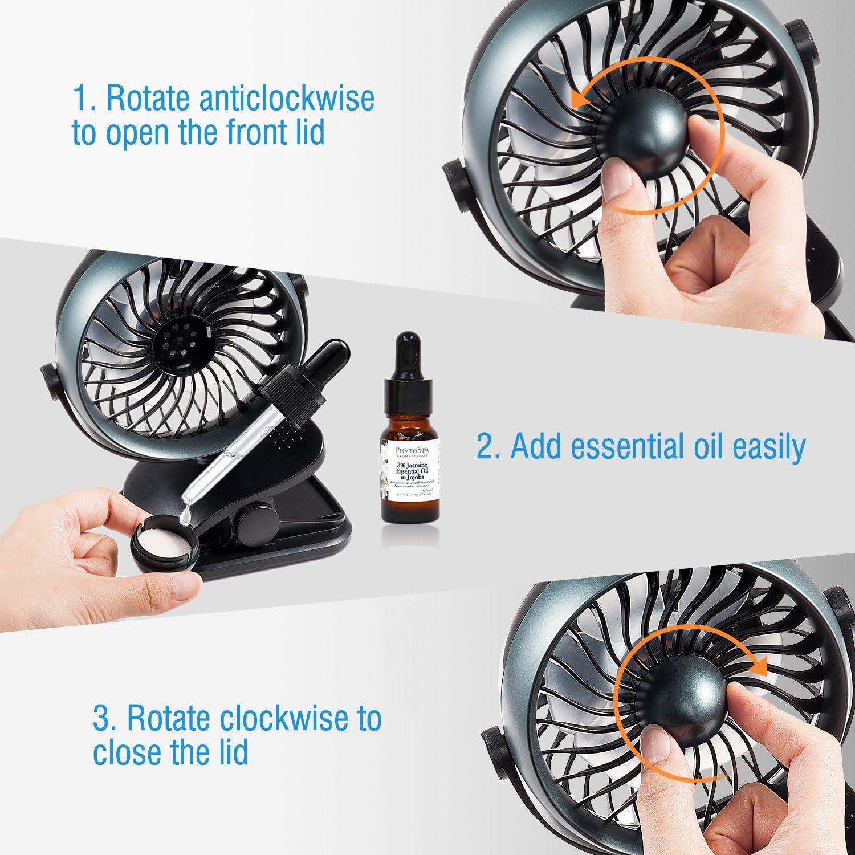 Handheld Fan for use in The Office or Home Table Fan LIVION 5.5 USB Desk Fan Green Personal Fan Battery or USB Powered Mini Portable Fan with Adjustable Tilting Head