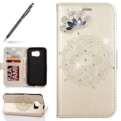 36eedd3a802 Uposao Funda Samsung Galaxy S7 Edge Piel PU Cuero Libro Billetera Tapa  Libro Flip Cover Funda