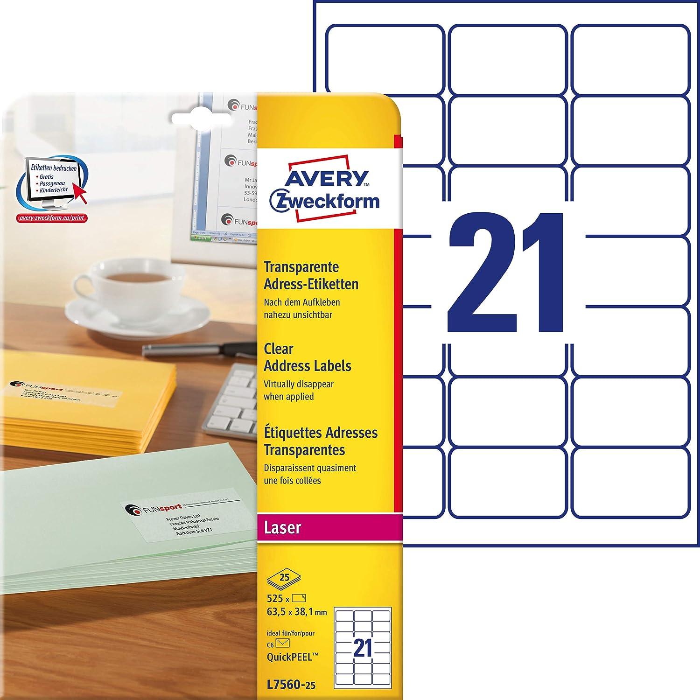 Avery Zweckform L7560-25 - Etiquetas transparentes para impresora ...