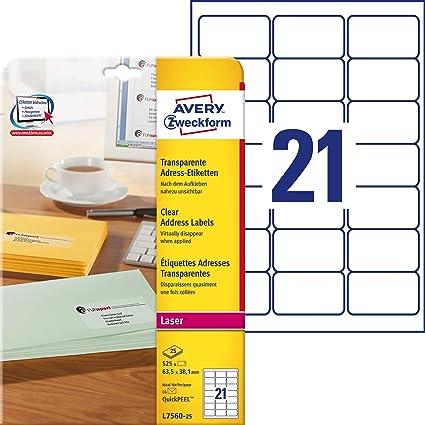 Avery Zweckform L7560-25 - Etiquetas transparentes para impresora láser (635 x 38.1 mm, Pack de 25 folios)