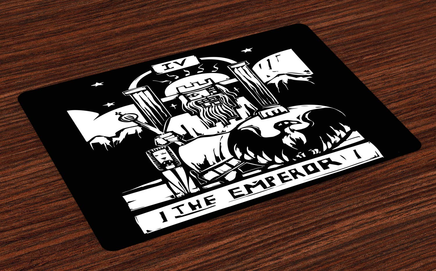 Ambesonne Tarot Place Mats Set of 4, Tarot Card for The Emperor Woodcut Style Illustration Monochromatic Artwork, Washable Fabric Placemats for Dining Room Kitchen Table Decor, Black and White