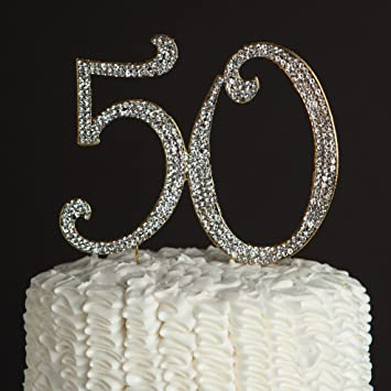 50 Cake Topper Gold 50th Birthday Or Anniversary Party Rhinestone Number Decoration