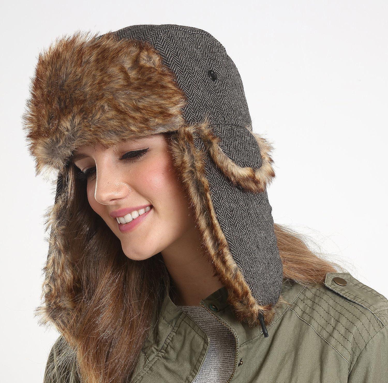 Tough Headwear Trapper Hat Faux Fur Ear Flaps Ushanka Aviator Russian  Accessory 4e64a95ed265