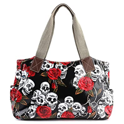 Cartoon Skull And Roses Oilcloth Shoulder Bag Canvas Strap Women - Cartoon handbags