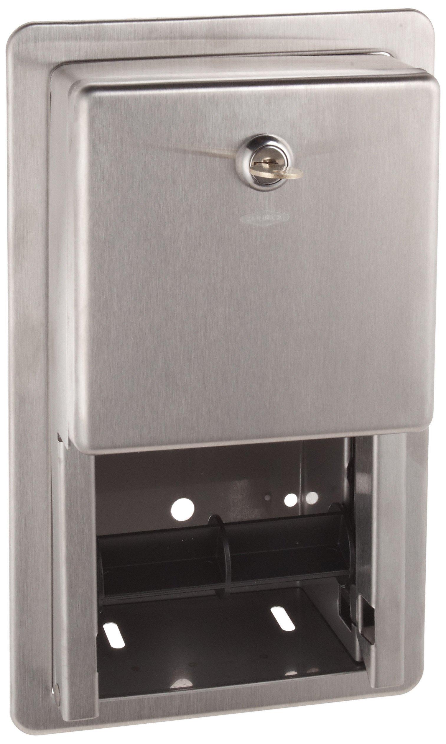 Bobrick B-3888 5-1/4'' Diameter, Stainless Steel Classic Series Recessed Multi Roll Toilet Tissue Dispenser