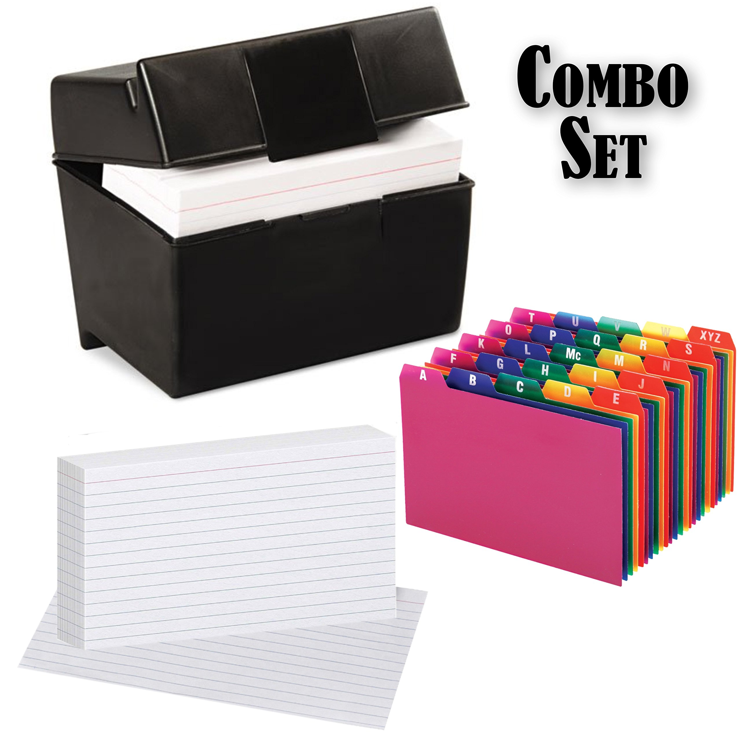 Plastic Index Card Flip Top File Box Holds 300 4x6 Cards, Matte Black, with Poly Card Guides, A-Z, 4x6 -Inch, and Heavy Weight Index Cards, 4'' x 6'', Ruled, White, 100/Pack (4x6 Inch)