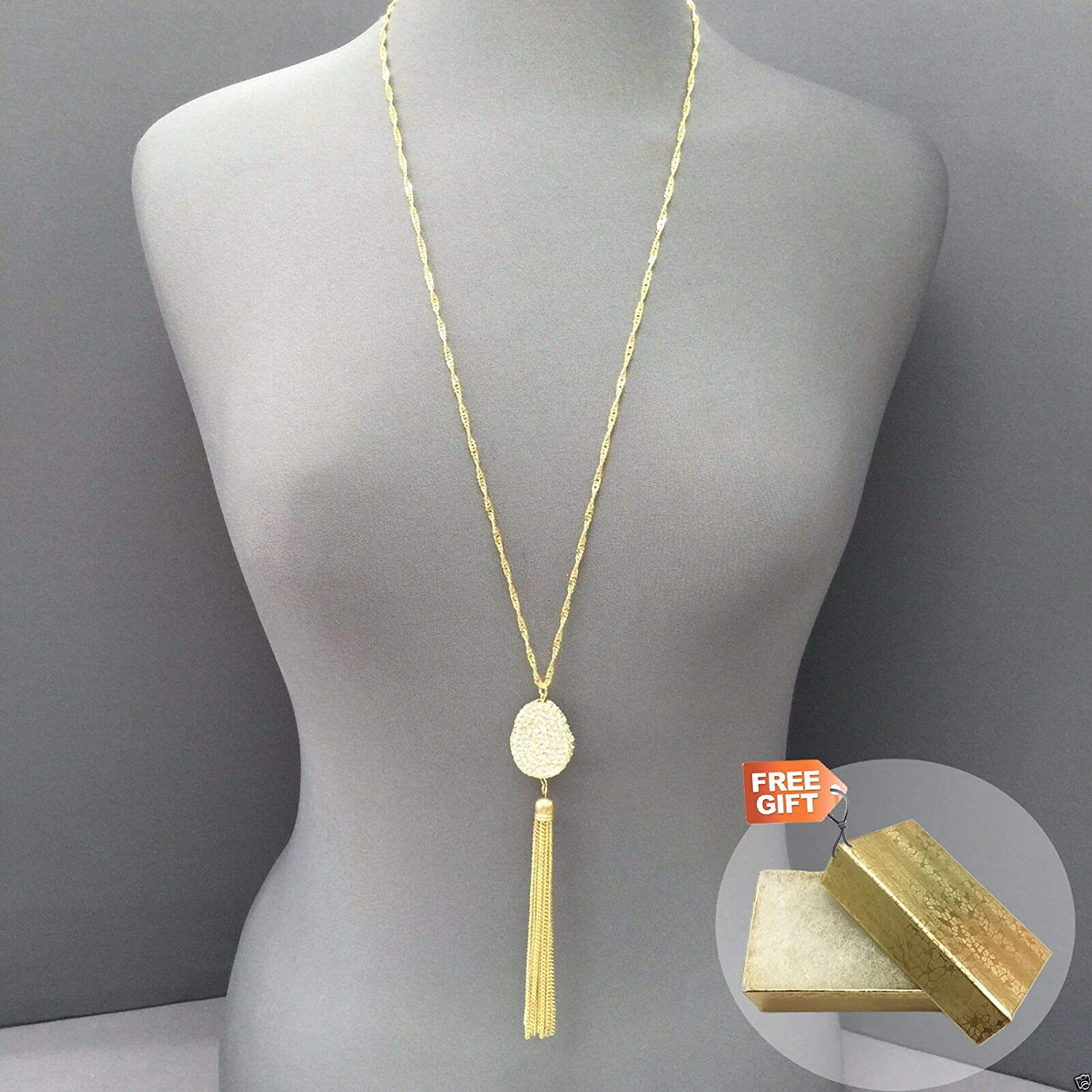 Gold Cotton Filled Gift Box for Free Gold Finish Chain Rhinestone Encrusted Tassel Pendant Necklace