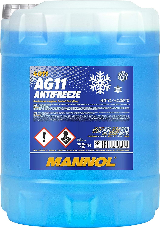 Mannol 15777100000 Antifreeze Ag11 40 Kühlerfrostschutz Kühlmittel 10 Liter Auto