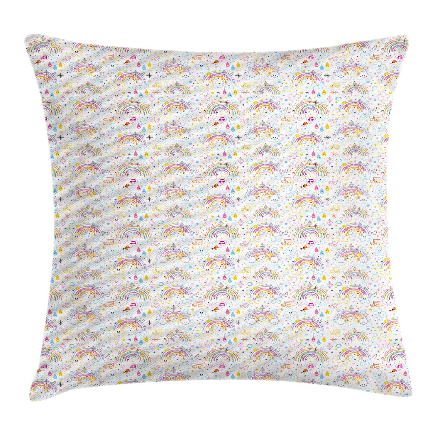 Lunarable Nursery Throw Pillow Cushion Cover, Cartoonish Colorful Outline Composition with Happy Minimal Items on Plain Backdrop, Decorative Square Accent Pillow Case, 24'' X 24'', Multicolor by Lunarable