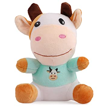 Skylofts Cute 20cm Cow Soft Toy Plush Toys with T Shirt - White & Blue