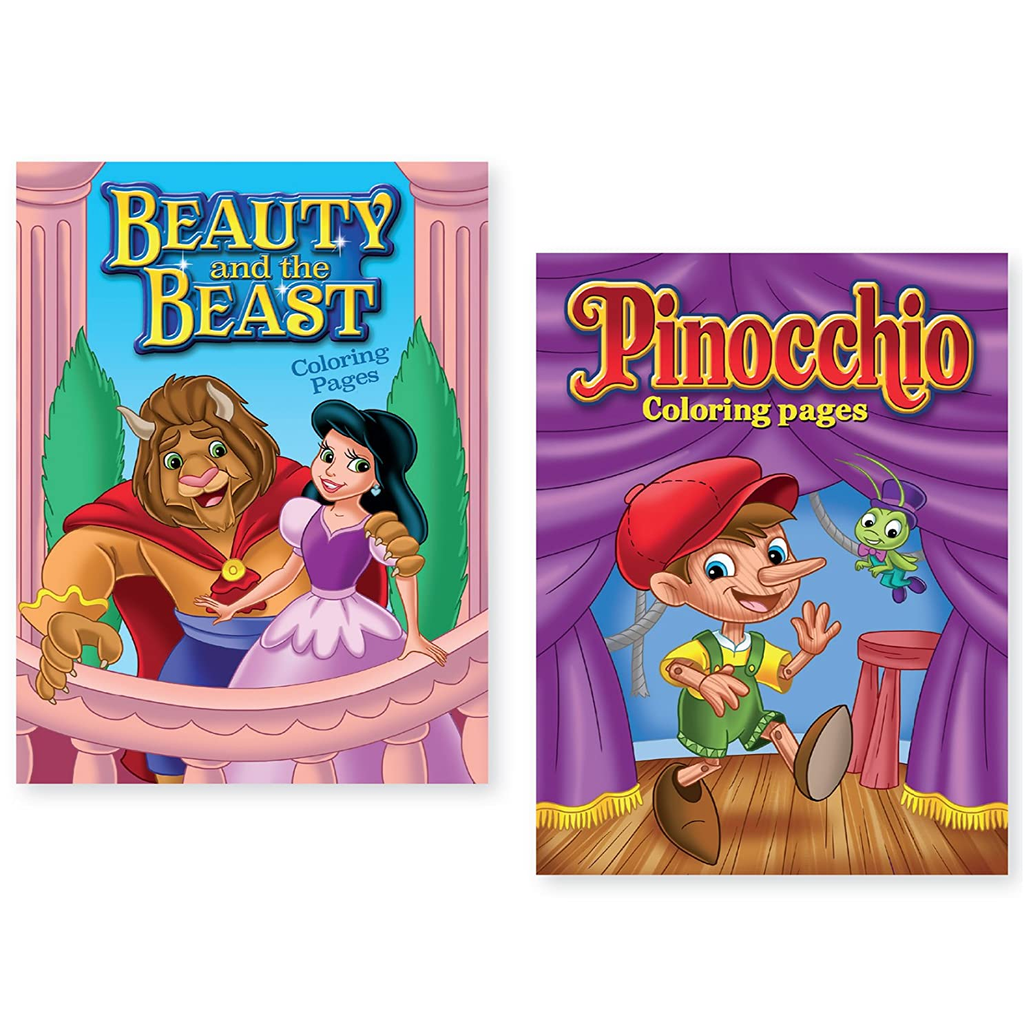 Bundle of 2 Beauty and the Beast and Pinocchio Coloring Books International Greetings