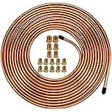 """Muhize 25 Ft. of 3/16 Brake Line Tubing Kit - Flexible Copper Tube Roll 25 ft 3/16"""" (Includes 16 Fittings)"""